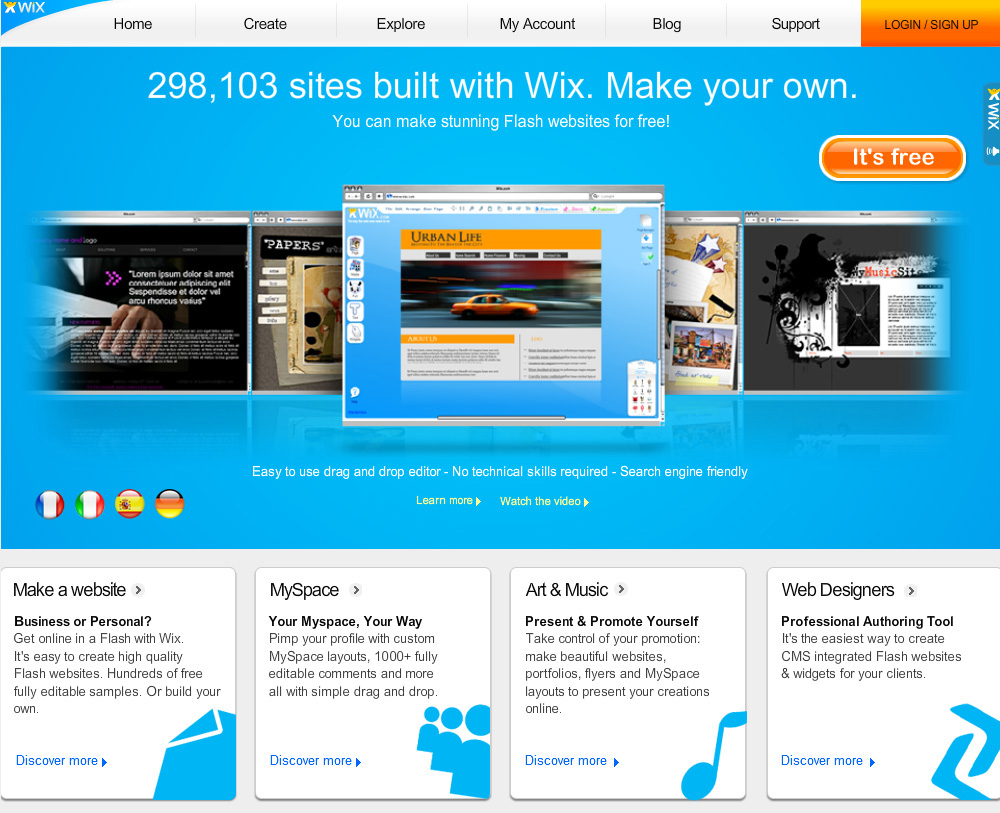 Wix.com – Create websites & Flash MySpace layouts